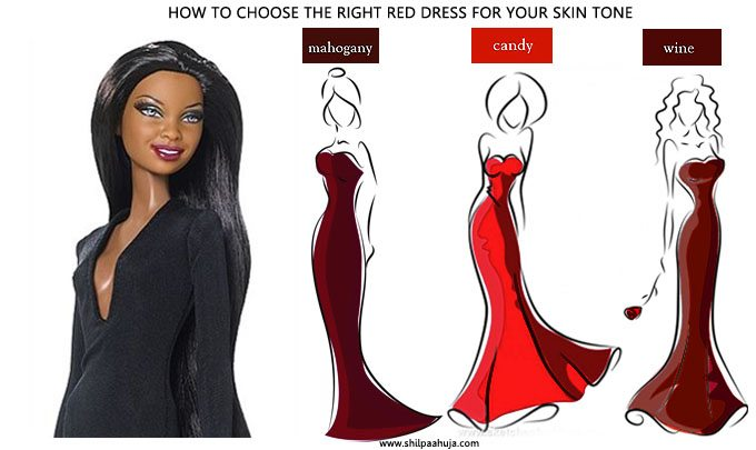 how_to_select_and_style_red_cocktail_dress_skin_tone_choose_party_fashion_ideas_dark_very