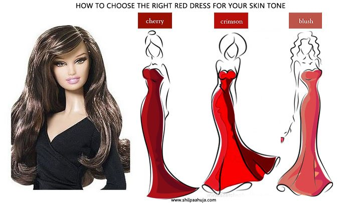 how_to_select_and_style_red_cocktail_dress_skin_tone_choose_party_fashion_ideas_light_white_pale