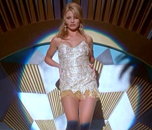 most_iconic_hollywood_white_dress_movie_actress_the_mask_cameron_diaz_dance_bar_performance_mini_sequin_applique
