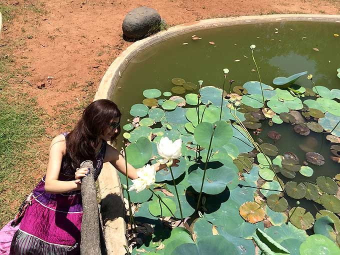 shilpa_ahuja_purple_silk_indian_maxi_dress_auroville_pondicherry_travel_fashion_lifestyle_tourism_ideas_lotus_pond