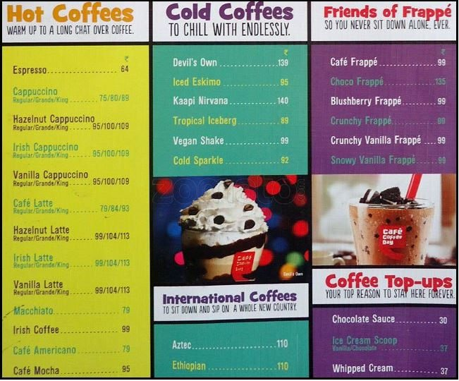 Cafe Coffee Day Drinks India Menu Vs Ccd Battle