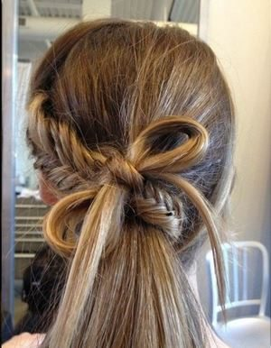 hairstyle_womens_latest_2015_spring_summer_back_fishtail_braid_bow_casual_different