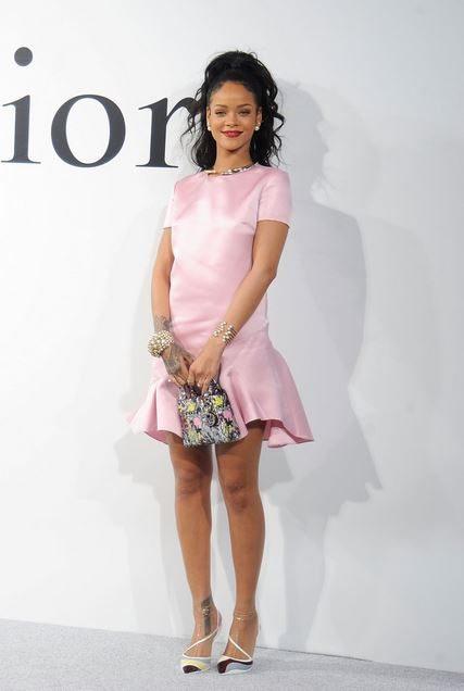 rihanna_dior_campaign_pink_silk_satin_dress_hangbad_red_lipstick_bracelets