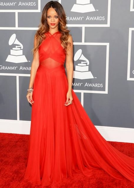 rihanna_grammys_awards_fashion_style_dress_red_sheer_criss_cross