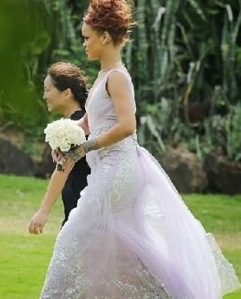 rihanna_lilac_wedding_bridesmaid_dress_red_hair_updo_gown