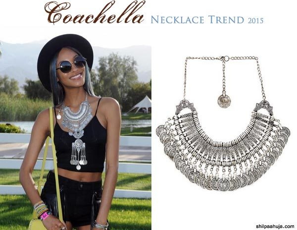silver_bib_statement_necklace_designer_coachella_2015_fashion_style_look_black_shorts_jourdan_dunn