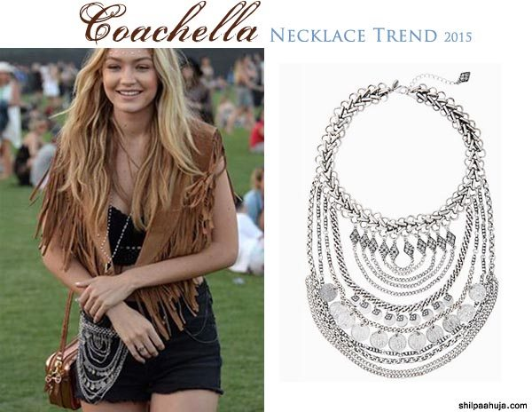 silver_bib_statement_necklace_designer_coachella_2015_fashion_style_look_shorts_black_top_gigi_hadid