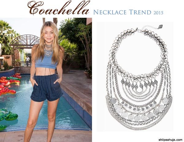 silver_bib_statement_necklace_designer_coachella_2015_fashion_style_look_shorts_blue_top_gigi_hadid