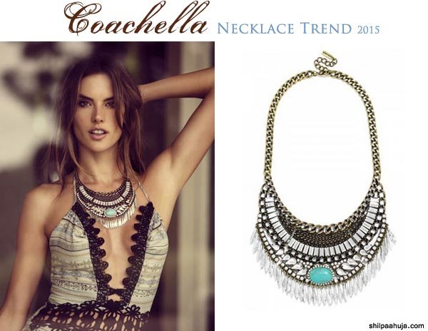 silver_bib_statement_necklace_designer_coachella_2015_fashion_style_look_shorts_tan_fringed_forever_21_bralette_alessandra_ambrosio_bauble_bar_collection