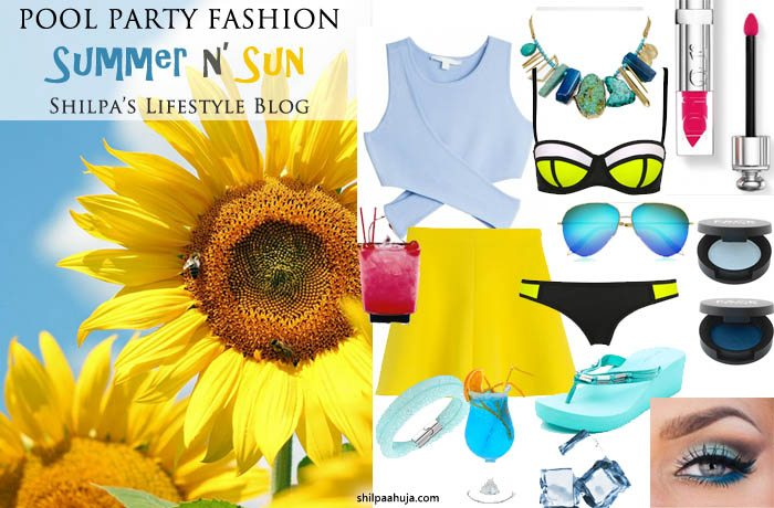 Summer_pool_party_dress_casual_look_barbecue_weekend_monsoon_shopping_style_fashion_outfit_ideas_blue_yellow_bikini_eyeshadow_shorts_crop
