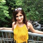 shilpa_ahuja_yellow_top_black_shorts_look_australia_river_fringe_model_mustard_mossman_gorge