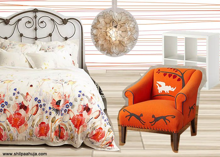 summer_interior-decoration_design_furniture_products_bright_foral_anthropologie_bedspread_orange_chair_rug_white_round_soga_ideas