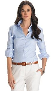 work_wear_office_outfit_power_dressing_women_ideas_professional_business_trousers_shirt_sky_blue_white