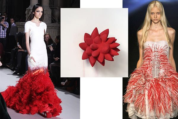 anish_kapoor_sculpture_fashion_inspired_prabal_gurung_red_layered_dress_runway