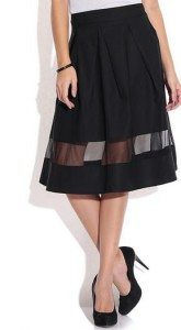 black_knee_length_skirt_party_wear_casual_online_shopping_womens_sheer_pleated_date