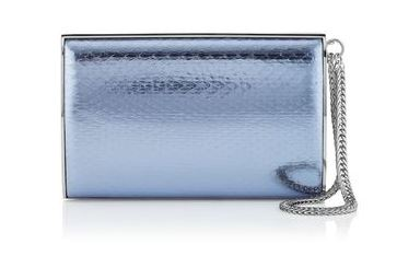 Carmen Ice Blue Metallic Water Snake Clutch Bag - Jimmy Choo