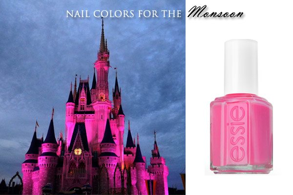 disney_orlando_nail_polish_pink_match_city_fashion_usa_america_monsoon_rainy_day_rain_world_magic_kingdom_view_bright_daisy_essie_fall_latest_trend