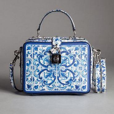 Blue Majolica Print Calfskin Rosary Bag - Dolce & Gabbana