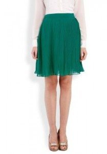 green_knee_length_skirt_casual_online_shopping_womens_pleated-date_emerald