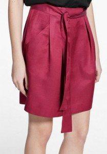 mango_mini_skirt_casual_online_shopping_womens_satin_cherry_red_knee_length