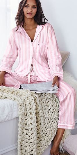 pink_striped_candy_shirt_pajamas_pjs_set_cotton_victorias_secret_vs_sleep_night_wear_sexy_cute_comfy