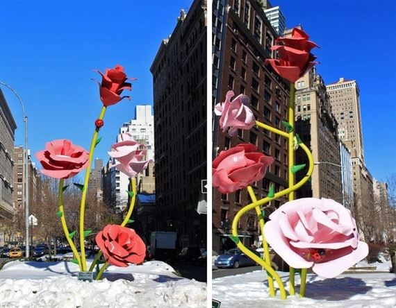 roses_public_art_sculpture_new_york_street_usa_america_pink_red_large_big