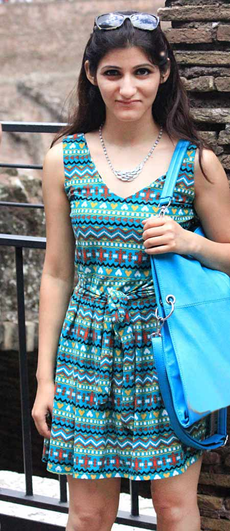shilpa_ahuja_travel_summer_look_green_tribal_print_dress_hobo_bag_turquoise_outfit
