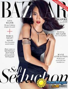 summer_fashion_trends_2015_harpers_bazaar_blue_dress_snake_jewelry_animal_shaped_magazine_july_issue_cover