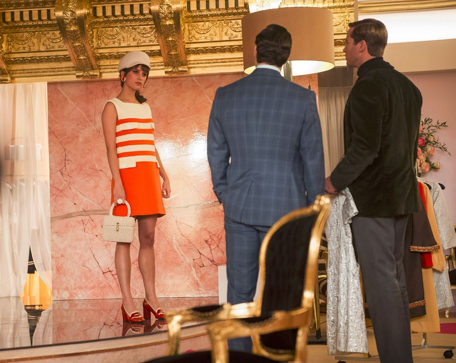 the_man_from_uncle_gaby_orange_casual_dress_white_hat_purse_bag_hairstyle_shoes_