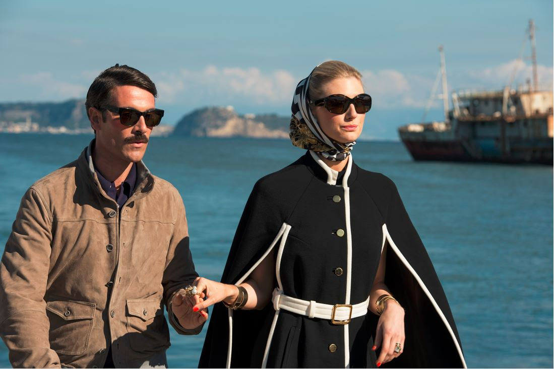 the_man_from_uncle_movie_fashion_victoria_black_white_coat_dress_boat_scene_scarf_sunglasse