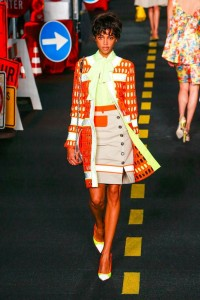 16-moschino-fashion-show-spring-summer-2016-rtw-orange-safety-barrier-fence-jacket-yellow-blouse-caution-tape-skirt