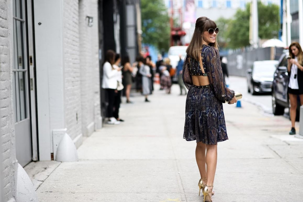 best-latest-street-fashion-new-york-fashion-week-spring-summer-ss-2016-print-dress-back-cut-out-full-sleeves-round-sunglasses