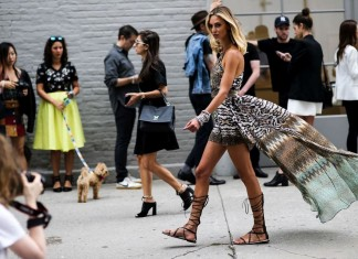 best-latest-street-fashion-new-york-fashion-week-spring-summer-ss-2016-print-dress-cape-gladiator-shoes-bangles-chunky-silver-jewelry