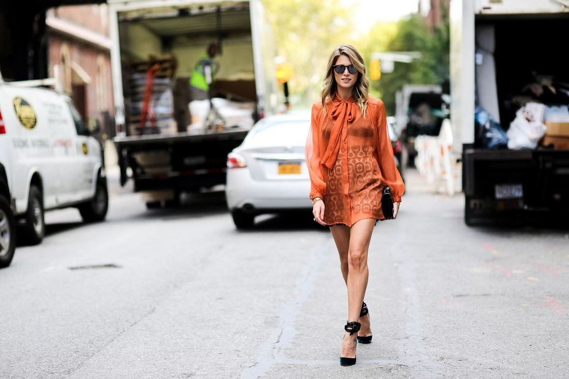 best-latest-street-fashion-new-york-fashion-week-spring-summer-ss-2016-print-skirt-rust-sheer-shirt-round-sunglasses