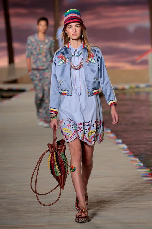 best-top-latest-looks-new-york-fashion-week-spring-summer-2016-rtw-outfits-tommy-hilfiger-beach-blue-shirt-dress-bag-crochet-hat-jacket