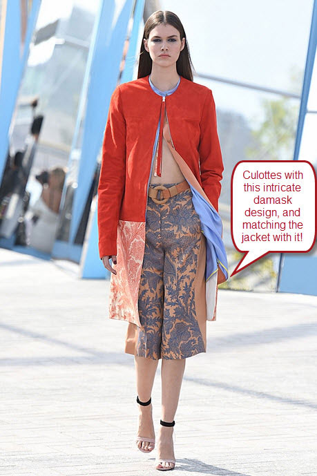 london-fashion-week-ready-to-wear-spring-summer-2016-best-looks-damask-design-print-culottes-red-jacket