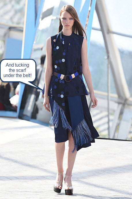 london-fashion-week-ready-to-wear-spring-summer-2016-best-looks-navy-skirt-dress-fringe-scarf-belt