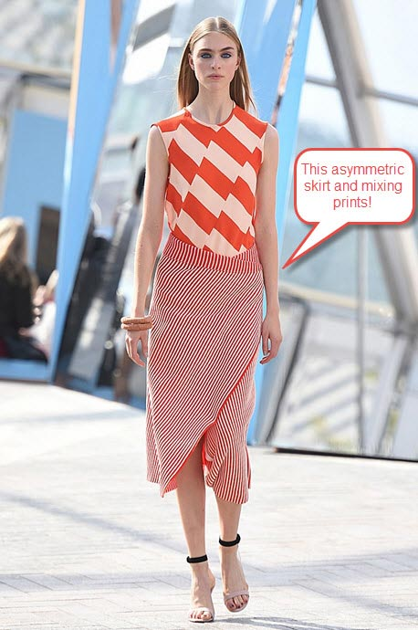 london-fashion-week-ready-to-wear-spring-summer-2016-best-looks-red-white-skirt-top-candy-asymmetric