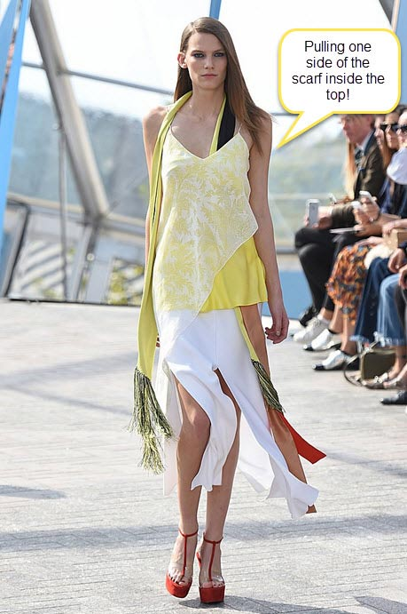 london-fashion-week-ready-to-wear-spring-summer-2016-best-looks-yellow-white-top-scarf-skirt-asymmetric