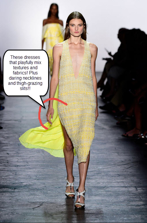 prabal-gurung-spring-2016-best-looks-summer-new-york-fashion-week-trends-top-best-yellow-dress-low-neckline-slit