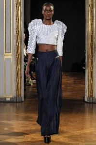 11-rahul-mishra-spring-summer-2016-blue-navy-3d-architecture-fashion-shoulders-crop-top-flared-pants