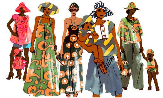 african-style-dress-print-girls-beautiful-yellow-maxi-sketch-illustration-red-blue-green