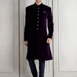 designer-wedding-dress-for-men-latest-winter-2015-2016-couture-groom-outfit-manish-malhotra-purple-grape-velvet-chooridar