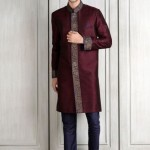 designer-wedding-dress-for-men-latest-winter-2015-2016-couture-groom-outfit-manish-malhotra-wine-brocade-border