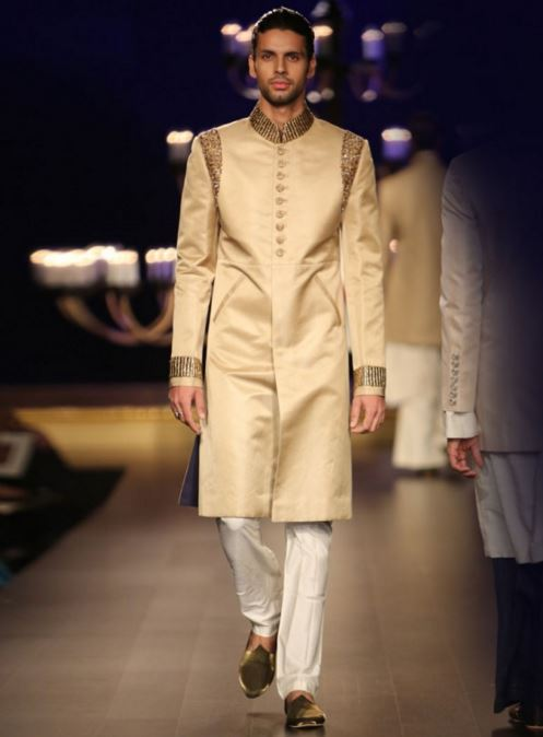 designer-wedding-dress-for-men-latest-winter-2015-2016-groom-outfit-manish-malhotra-beige-gold-shoulder-sleeve-embroidery