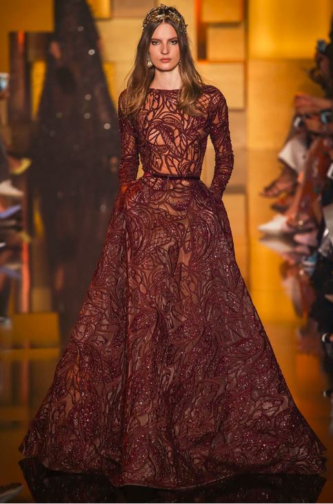 fall-2015-winter-2016-fashion-color-trends-runway-elie-saab-burgundy-gown-party-sequin-embroidery-beautiful-top-best