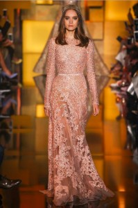 fall-2015-winter-2016-fashion-color-trends-runway-elie-saab-sky-peach-sheer-gown-dress-party-beautiful-elegant