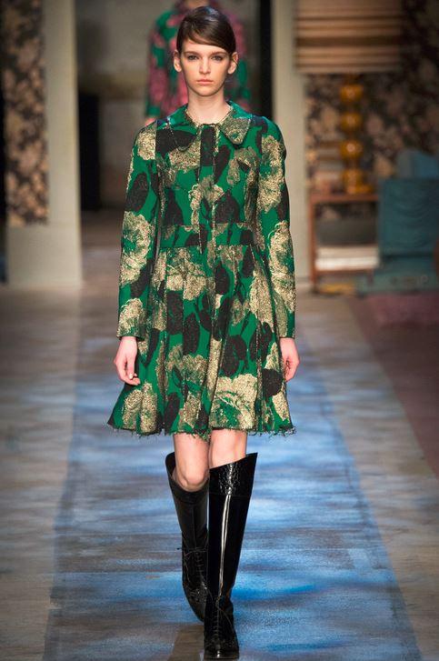 fall-2015-winter-2016-fashion-color-trends-runway-erdem-green-dress-black-boots