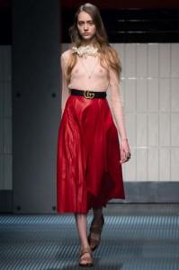 fall-2015-winter-2016-fashion-color-trends-runway-gucci-red-skirt-sheer-top-nude