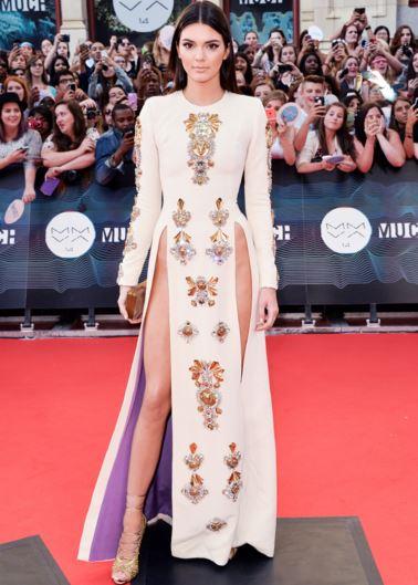 kendall-jenner-slit-dress-white-gown-red-carpet-skirt-much-music-awards